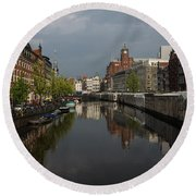 Amsterdam - Singel Canal With The Floating Flower Market Round Beach Towel