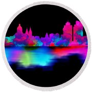 Amsterdam Skyline - Pink Blue Round Beach Towel