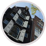 Amsterdam Spring - Arched Windows And Shutters - Right Round Beach Towel