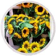Amsterdam Sunflowers Round Beach Towel