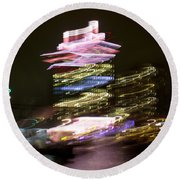 Amsterdam The Netherlands A'dam Tower Abstract At Night. Round Beach Towel