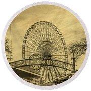 Amusement Park Vintage Round Beach Towel