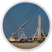Amusement Pier And Waterpark Round Beach Towel