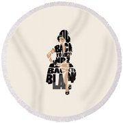 Amy Winehouse Typography Art Round Beach Towel