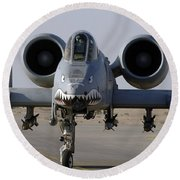 An A-10 Thunderbolt II Round Beach Towel
