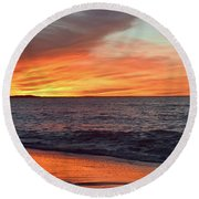 An Absolute Fire In The Sky Round Beach Towel