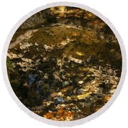 An Abstract Fall Reflection Round Beach Towel