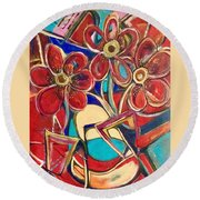 An Abstract Floral Round Beach Towel