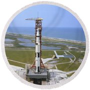 An Aerial View Of The Apollo 15 Round Beach Towel