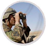 An Afghan Commando Scans The Horizon Round Beach Towel