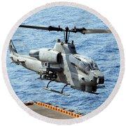 An Ah-1w Super Cobra Helicopter Round Beach Towel