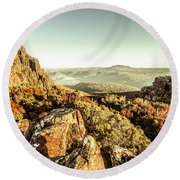 An Alpine Morning Round Beach Towel