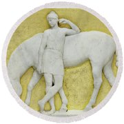 An Amazon Watering Her Horse, Rome Round Beach Towel