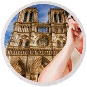 An American In Paris Notre Dame Round Beach Towel