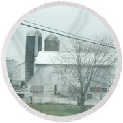 An Amish Barn In April Round Beach Towel