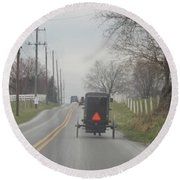An Amish Buggy In April Round Beach Towel