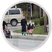 An Amish Family Going For A Walk Round Beach Towel