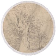 An Ancient Tree With Figures In A Landscape Round Beach Towel