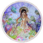 An Angel For All Of The Chakras And Her Name Is Simplicity Round Beach Towel