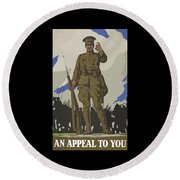 An Appeal To You Round Beach Towel by War Is Hell Store