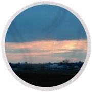 An April Sunset Over An Amish Farm Round Beach Towel