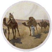 An Arab Caravan Round Beach Towel
