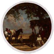 An Arab Encampment Round Beach Towel by Gustave Guillaumet
