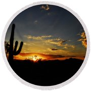 An Arizona Sunrise  Round Beach Towel