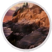 An Art Photograph Of  Bass Harbor Lighthouse,acadia Nat. Park Ma Round Beach Towel