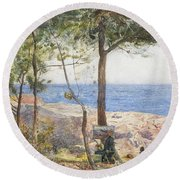 An Artist Painting By The Sea Round Beach Towel