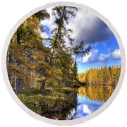 An Autumn Day At Woodcraft Camp Round Beach Towel