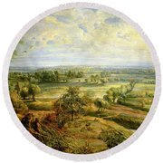 An Autumn Landscape With A View Of Het Steen In The Early Morning Round Beach Towel