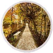 An Autumn Path Round Beach Towel