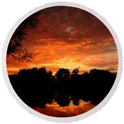 An Awesome Sunset  Round Beach Towel