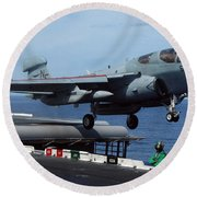 An Ea-6b Prowler Launches Round Beach Towel