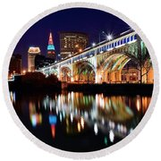 An Early Evening In Cleveland Round Beach Towel