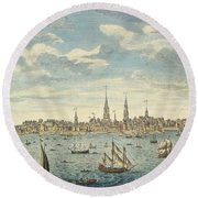 An East Prospective View Of The City Of Philadelphia Round Beach Towel