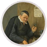 An Elderly Man Seated Holding A Wineglass Round Beach Towel
