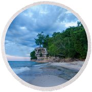 An Evening At The Chapel Round Beach Towel