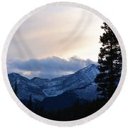 An Evening In The Mountains Round Beach Towel