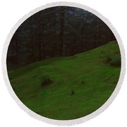 An Evening In Woods Round Beach Towel