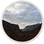 An Evening View Through A Valley In The Southwest Foothills Of The Sierra Nevadas Round Beach Towel