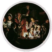 An Experiment On A Bird In The Air Pump Round Beach Towel by Joseph Wright of Derby