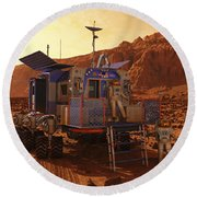 An Explorer Departs A Manned Rover Ina Round Beach Towel