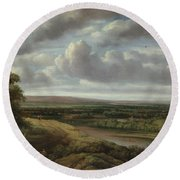 An Extensive Wooded Landscape Round Beach Towel