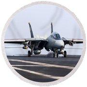 An F-14d Tomcat Makes An Arrested Round Beach Towel