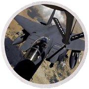 An F-15 Strike Eagle Prepares Round Beach Towel