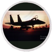 An F-15c Eagle Aircraft Silhouetted Round Beach Towel by Stocktrek Images