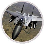 An F-15e Strike Eagle Aircraft Round Beach Towel