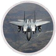 An F-15e Strike Eagle Flies Watch Round Beach Towel